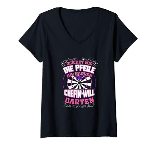 Damen Dartspielerin Lustiges Geschenk Darts Spielen Dart Darten T-Shirt mit V-Ausschnitt