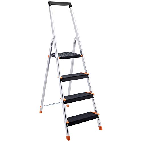 Amazon Basics Folding Step Ladder  4Step Aluminum with Wide Pedal Silver and Black