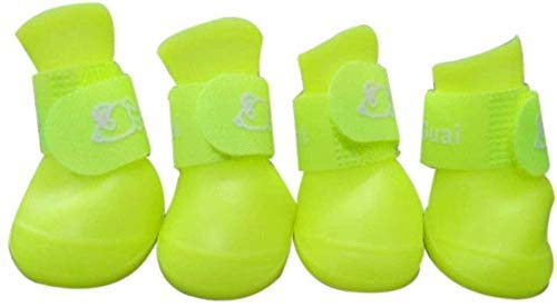 Ducomi Zampette - Zapatillas Impermeables para Perros - Cómodas y Fáciles de Poner - Protegen Las Patas de tu Mascota - Reducen el Riesgo de Infecciones en Caso de Heridas (S, Amarillo)