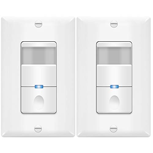 TOPGREENER PIR Passive Infrared Motion Sensor Switch, No Neutral Required, 4A 500W 1/8HP, 120-277VAC, Occupancy Vacancy, Ground Wire Required, Single Pole, TDOS5-J, White, 2-Pack