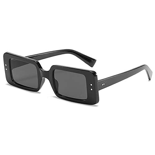 WANGZX Gafas De Sol Cuadradas Pequeñas Retro para Mujer Gafas De Sol Rectangulares Transparentes Atractivas para Mujer Tono De Moda Uv400 Negro-Negro