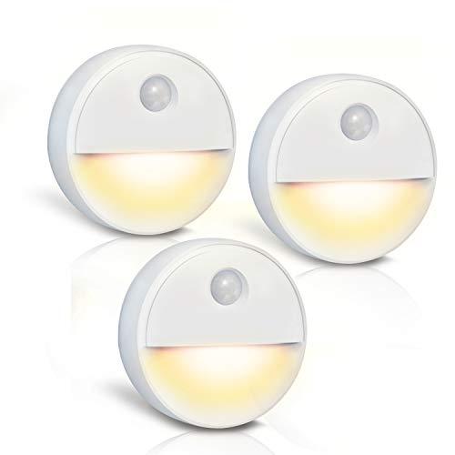 Preisvergleich Produktbild LED-Nachtlicht mit Bewegungsmelder,  LED-Warmlicht Kompakt,  Batteriebetrieben LED Sensor Licht mit Magnetisch und Klebend für Schlafzimmer,  Kinderzimmer,  Treppe,  Flur,  Keller,  Schrank (Warmes Weiß)