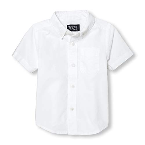 The Children's Place Baby Boys' Short Sleeve Uniform Oxford Shirt, White 4764, 18-24 Months