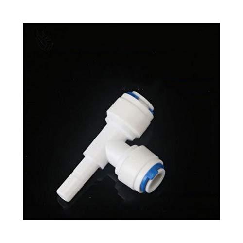 Conjunto de herramientas sanitarias 10pcs T Forma de 3 vías del agua del RO 1/4' 3/8 'Montaje de OD acoplamiento de manguera 1/4' 3/8' Sistema acuario de tuberías de plástico Osmosis Inversa Rápida co
