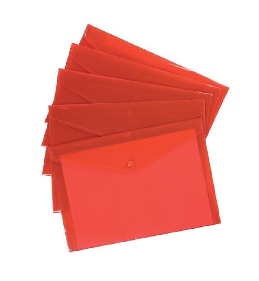 5 Star Envelope Wallet Polypropylene A4 Translucent Red [Pack of 5]