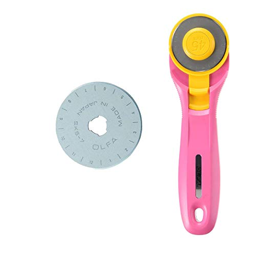 Olfa Pink 45 mm Rotary Cutter, RTY-2/C + Spare Blade
