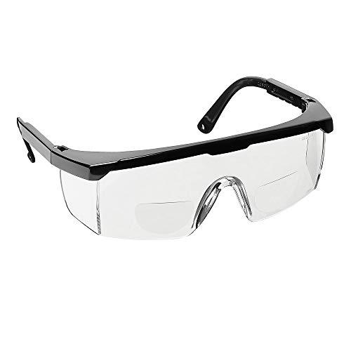 voltX 'Classic' farblose Bifokalschutzbrille (+2,0 Dioptrie) mit Sicherheitskordel CE EN166F zertifiziert + Anti Fog UV400 Linse