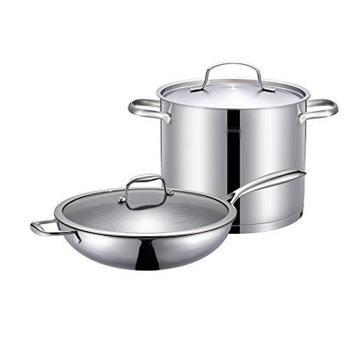 Holloware Cookware Set Pot Group Familie Kookgerei Combinatie Roestvrij Staal Wok 32cm Soeppot 22cm Inductie Cooker Gas Fornuis Set