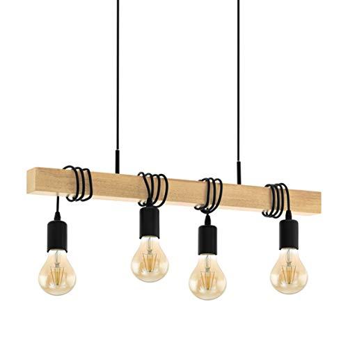 EGLO Pendelleuchte Townshend Holz Vintage, Hängelampe Esszimmer, Hängeleuchte 4-flammig, rustikale Retro Lampe im Industrial Design mit E27 Fassung, Pendellampe schwarz, braun