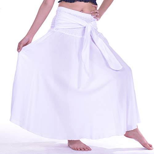 LOFBAZ Long Maxi Skirts for Women Boho Gypsy Dress Bohemian Hippie Dresses African Clothing Womens Indian Wrap Skirt Solid White OS