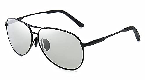 WQZYY&ASDCD Gafas de Sol Aviation Metail Frame Gafas De Sol Polarizadas Hombres Que Cambian De Color Gafas De SolPiloto Hombre Día Visión Nocturna Conducción-C11_Blackchangecolor