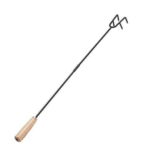 MIYA Fire Poker - 32inch Metal Fire Pit Poker with Wood Handle - Heavy Duty Fireplace Poker Tool - Rust Resistant Campfire Poker for Indoor and Outdoor Camping