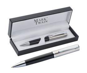 Bolígrafo de metal de Mark Twain de gran calidad con mecanismo de giro. Será el centro de todas las miradas por la elegancia y la apariencia acrílica del estuche