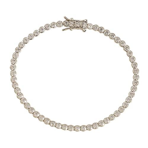 LYNLYN Bracelets Platinum Plated 925 Silver Created Round Gemstone Diamond Tennis Bracelet for Women Wedding Fine Jewelry White Stone 15cm (Color : White Stone)