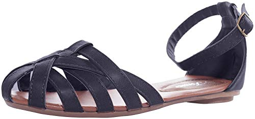 FOREVER Women's Vera-82 Flat Strappy Sandals,Black,8