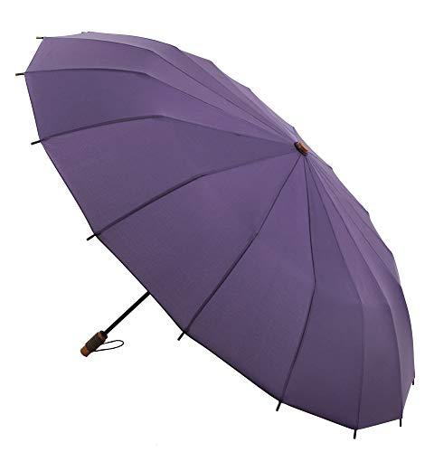 Paraguas VOGUE Supermini. 16 Varillas. Diseño Inspirado en Las Tradicionales sombrillas japonesas. Antiviento y Acabado Teflón. (Morado)