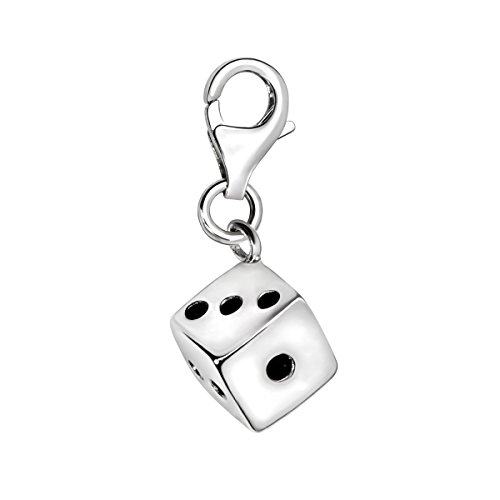 Quiges 3D Dice Clip On Charm Pendant Silver Plated Women's Jewellery