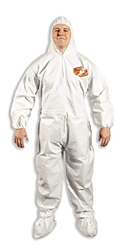 Quest Barrierwear Disposable Coveralls - Protective Coveralls with Hood and Boot - Hazmat Suit - White - X-Large - Pack of 6 Suits