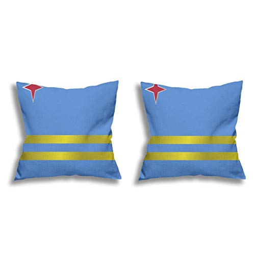 Aruba - Federa quadrata in lino, 2 pezzi, decorazione per la casa per divano, letto, sedia, 45 x 45 cm