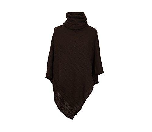 4sold dames Poncho +handschoenen wanten Womens assymetrische acryl mengsels kraag hals Warmer sjaal sjaal (braun)
