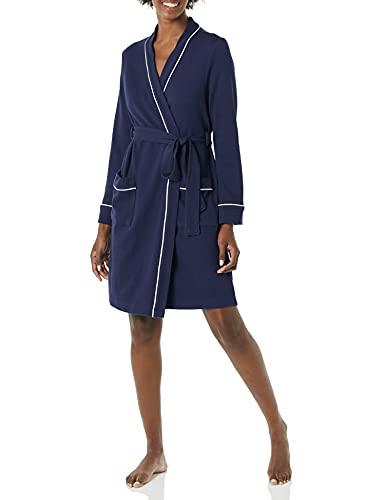 Amazon Essentials Damen Lightweight Waffle Mid-length Robe bathrobes, navy, XL