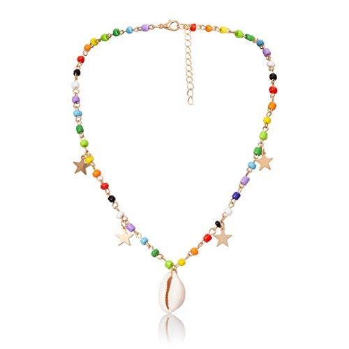 Halskette Boho Simple Sea Shell Anhänger Halskette für Frauen Bunte Perlenkette Mini Pentagram Dekoration auf dem Hals Halsreif Geschenk