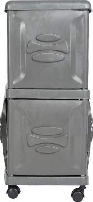 JINDAL Heavy Duty Double Inverter Battery Trolley Suitable for All Inverter Companies We'll Help You to get Great Trolley for Inverter Batteries Grey