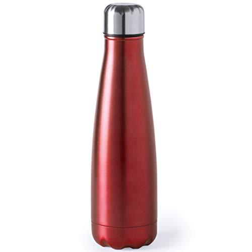 eBuyGB Stainless Steel Flask Elegante Thermos da Viaggio in Acciaio Inox, Rosso, 630ml