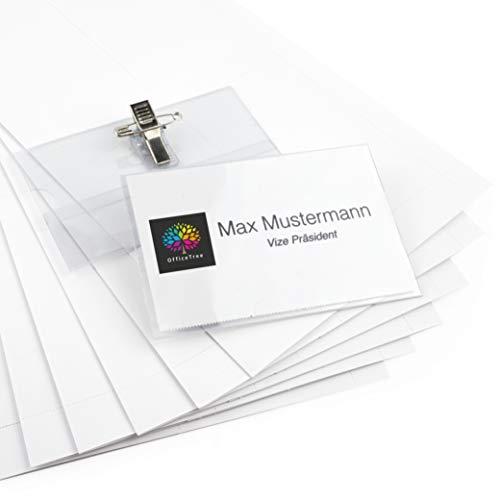 OfficeTree 200 Namensschilder mit Halter-Clip und Ansteck-Nadel - Kunststoff Namensschild für Visitenkarten bis 90x55 mm - Namensschilder für Kleidung - Transparent