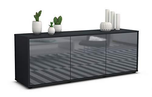 Stil.Zeit TV Schrank Lowboard Allegra, Korpus in anthrazit matt/Front im Hochglanz Design Grau Graphit (135x49x35cm), mit Push to Open Technik, Made in Germany