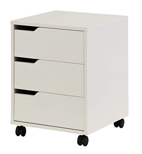 hjh OFFICE 674340 Rollcontainer Organiser Weiß Büro Beistellschrank mit Schubladen und Rollen