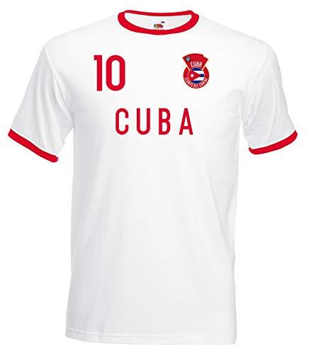 Nation Kuba Ringer T-Shirt Trikot Wappen NO. 10 W-R (XL)