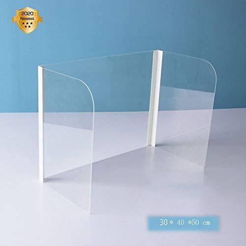 YANGAC Plexiglas Schutzwand Spuckschutz Aus Acrylglas Als Tischtrenner Virenschutz, Hustenschutz FüR SitzpläTze/ArbeitspläTze 30x40x50cm