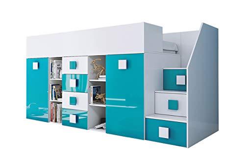 KRYSPOL Etagenbett für Kinder TOLEDO 3 Stockbett mit Treppe, Schreibtisch, Bettkasten (Weiß/Weiß Glanz + Türkisglanz, Seite: rechts)