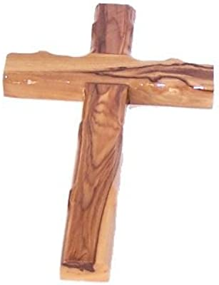 Simple Olive Wood Cross from The Holy Land - Stamped with Jerusalem on Back (16 cm or 6.5 inches)