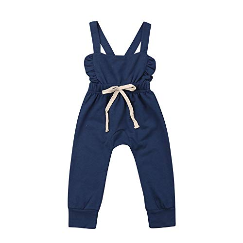 DuAnyozu Toddler Baby Girl Ruffle Strap Backless Jumpsuit Romper Overalls Elastic Waist One Piece Outfit Clothes (Blue, 2T-3T)