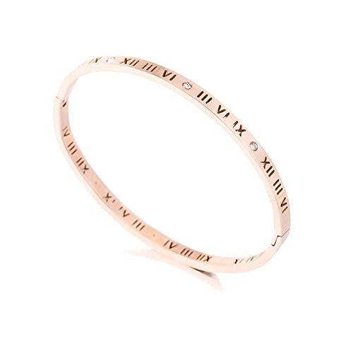 Armband armbanden titanium staal armband vrouwelijk eenvoudige roze goud Romeinse cijfers opening paar zirkoon armband