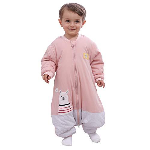 *Schlafsäcke baby Winter Junge Mädchen Neugeboreneoverall Strampler – 2.5TOG mit Füßen kinder Ganzjährig Schlafanzug Eisbär (Rosa, L:95CM/24-36monate)*