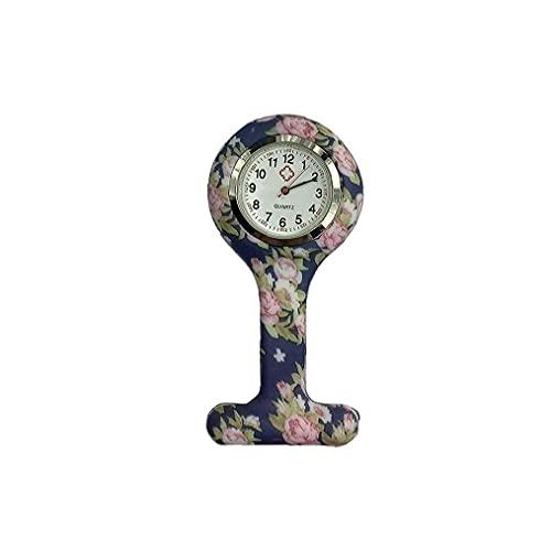 Nicedier Broche de Silicona de Bolsillo de Las Mujeres Floral Bolsillo Duradero Reloj analógico de Cuarzo Reloj de Reloj del Clip Fob Médico Enfermera Reloj de los Relojes de Las Mujeres