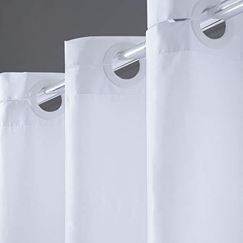 Furlinic Weisser Duschvorhang, Schmale Textile Duschvorhänge aus Stoff für Dusche, Badewannenvorhang aus Polyester Wasserdicht Anti-schimmel Waschbar, 90x180 mit Groß Ösen.