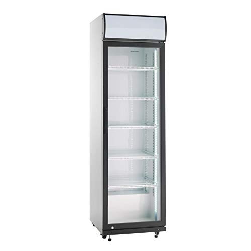 Scandomestic SD 419 Vitrina Refrigerada expositora, para bebidas, postres, dulces, silencioso, Puerta de cristal, Control mecánico,Iluminación LED, Blanco -Negro.