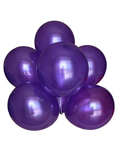 Chailert Balloon - Globo metálico perlado de 30 cm para decoración de fiestas, 100 unidades (morado)