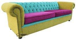 Chesterfield 4plazas sofá o sofás de tela a medida, color berenjena