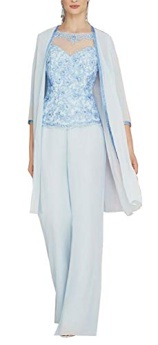 CGown Blaue Spitze 3/4 Ärmel Brautmutter Kleid Anzüge 3-teilig mit Chiffon Lange Jacke formelle Anzüge für Hochzeit Gr. 42, blau