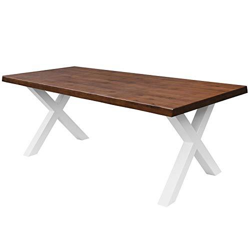 COMIFORT Mesa de Comedor - Mueble para Salon Oficina Despacho Robusto y Moderno de Roble Macizo Color Chicago con Lado Ondulado, Patas de Acero X-Forma Blancas (130x75 cm)
