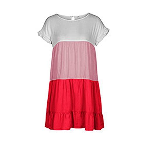 Vestido de Mujer de Costura Primavera y Verano Falda de Vacaciones Jersey de Cuello Redondo Vestido de Manga de pétalo Degradado