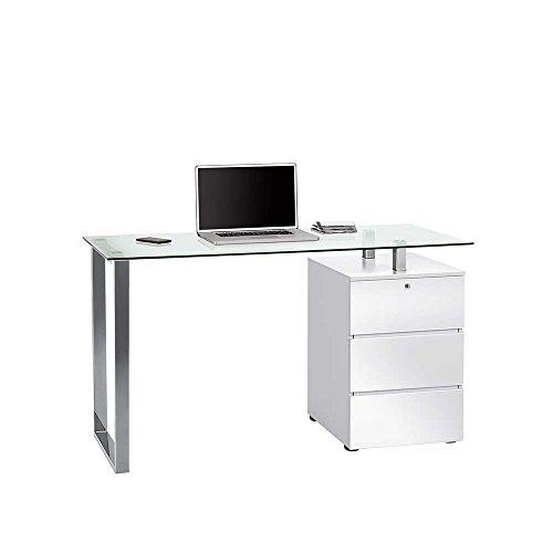 Pharao24 Schreibtisch mit Glasplatte Schubladen