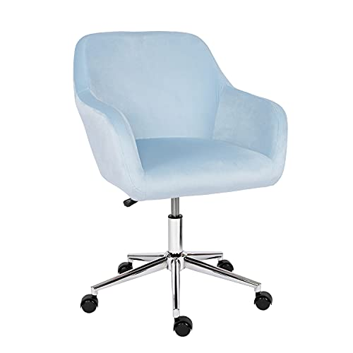 Desk Chair,Velvet Computer Chair Mid Back Office Swivel Chair Executive Chair Adjustable Height Comfy Padded Leisure Chair Armrest Chair,Home/Office Furniture (Light Blue)