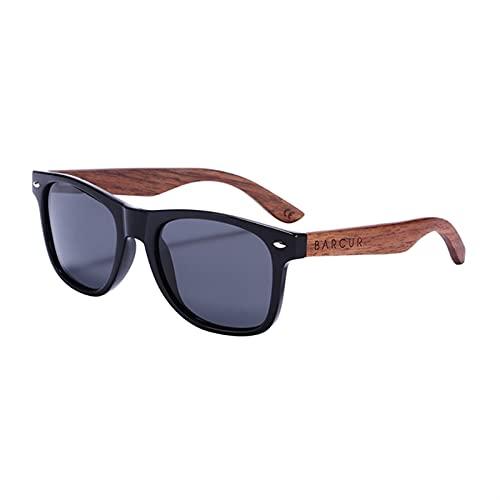 Gafas de sol de nuez negra de anti-reflecti hombres espejo espejo de sol gafas masculinos UV400 Sombrillas de sol de madera Sombras Oculos Gafas de sol polarizadas Hombres Frescos para mujer Deportes