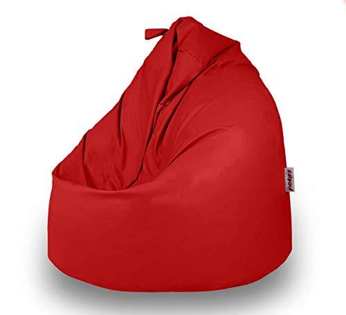 Italpouf Pouf Sacco Ecopelle Grande 90 Ø x 115, Poltrona Sacco Grande Pera, Pouf Sacco Imbottito, Pouf Ecopelle Sfoderabile (Pouf Sacco XL Grande, Rosso)
